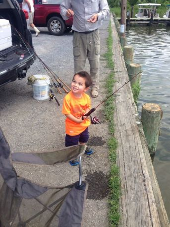 "My grandson Aiden fishing with his New fishing rod. It is a ""Dock Demon"" by Zebco. These 30"" rods are perfect for the little ones. The larger rods were somewhat overwhelming to him. This one was just right for his small stature."