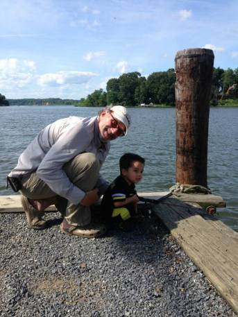 It does not get much better than this! Fishing with my grandson. Keep the little ones close at hand when fishing on bulkheads and piers. In cooler weather life jackets would be worn. This day I opted from comfort and kept the little ones very close to me.
